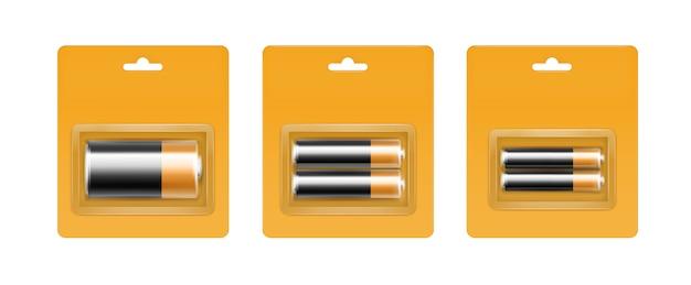 ブリスターのブラックイエローゴールデンアルカリ電池