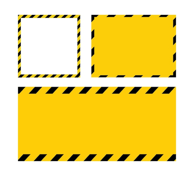 Black and yellow line striped blank warning sign yellow background template with space for text