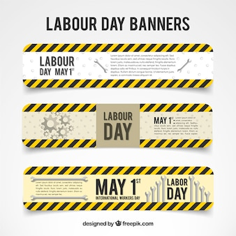 Black and yellow lines labor day banners