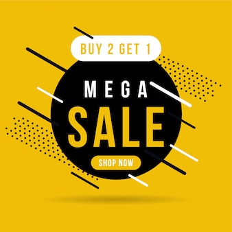 Black and yellow mega sale banner, buy 2 get 1.