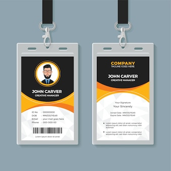Black and yellow office id card template