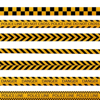 Black and yellow police stripe border, construction, danger caution seamless tapes vector set