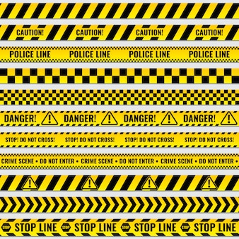 Black and yellow police stripe border