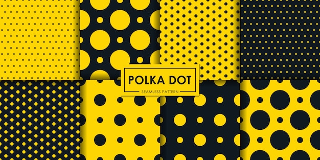 Black and yellow polkadot seamless pattern collection.