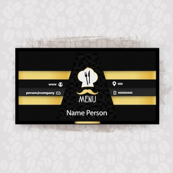 Black and yellow restaurant business card