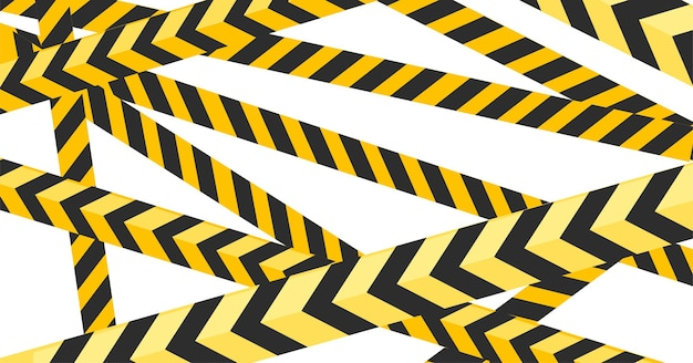 Black and yellow striped tape police or construction design flat illustration