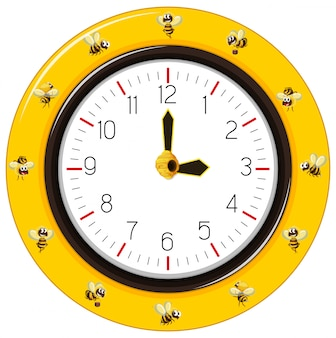 Black and yellow stripes bee clock