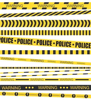 黒黄色のストライプ。犯罪現場の公式バリアテープ。