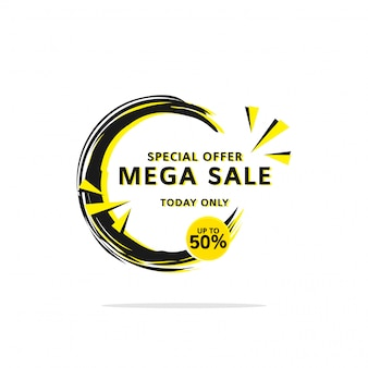 Black yellow super sale up to 50% banner template  label shopping with flat style