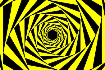 Black Yellow Warning Spiral Tunnel Abstract Background