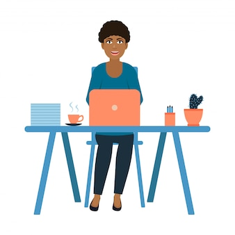 Black young girl sitting at the workplace