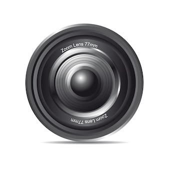 Black zoom lens with shadow over white background vector