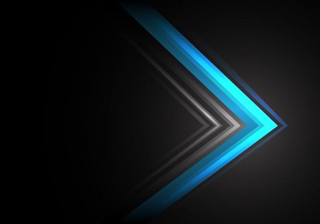 Black黒い背景に青い光の矢印の速度方向。