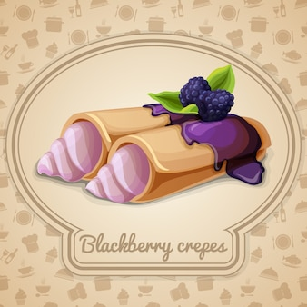 Blackberry crepes illustration