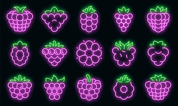 Blackberry icons set. outline set of blackberry vector icons neon color on black