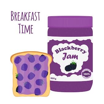 Blackberry jam in glass jar