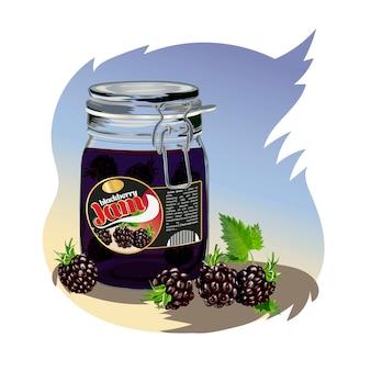 Blackberry jam in the jar.