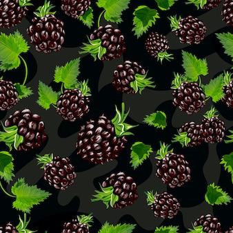 Blackberry vector seamless pattern.