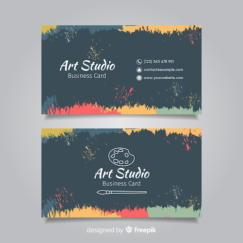 Blackboard art studio card template