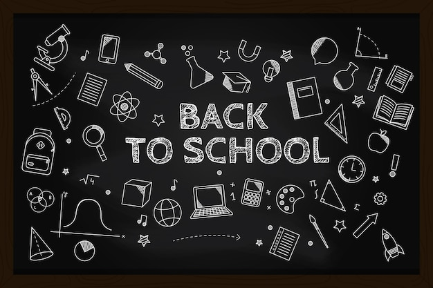 Blackboard back to school background with chalk