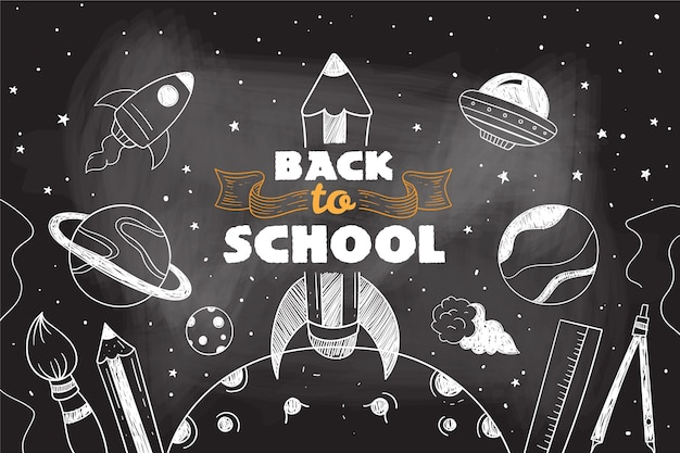 Blackboard back to school background with elements pack