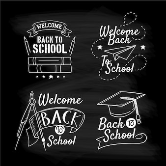 Blackboard back to school badges collection