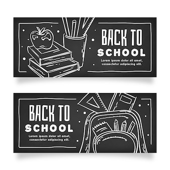 Blackboard back to school banner template