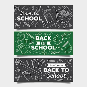 Blackboard back to school banners collection