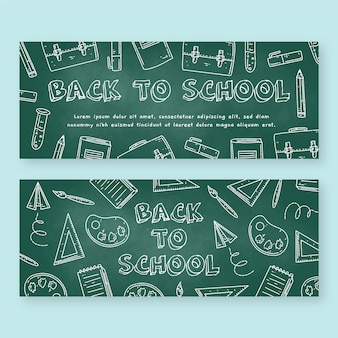 Blackboard back to school banners pack
