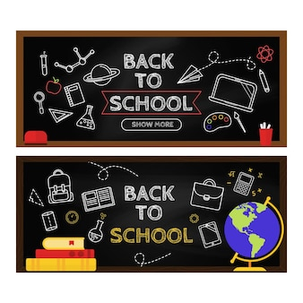 Blackboard back to school banners set