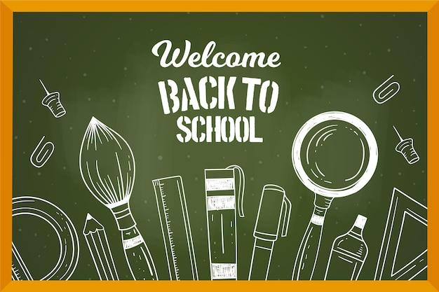 Blackboard back to school elements background