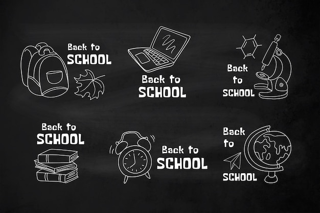 Blackboard back to school label collection