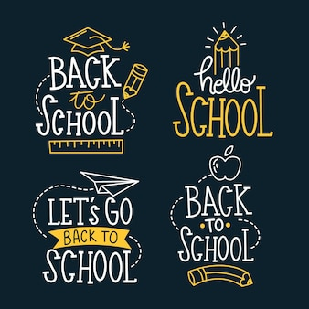 Blackboard back to school labels collection
