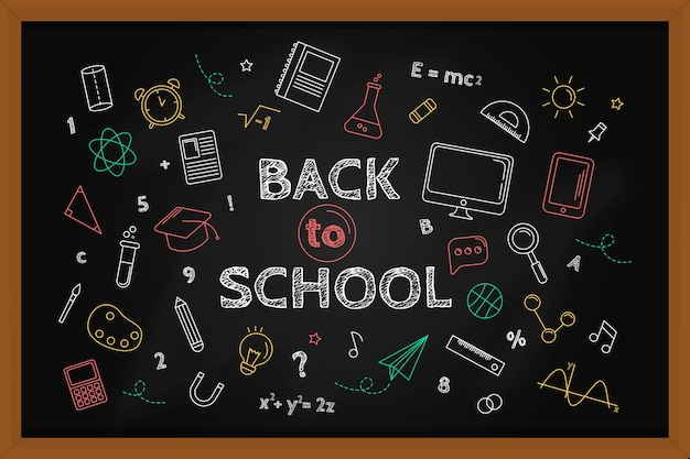 Blackboard back to school wallpaper with chalk