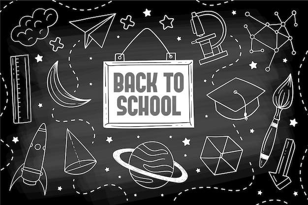 Blackboard back to school wallpaper with illustrations