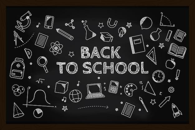 チョークで学校の背景に戻る黒板