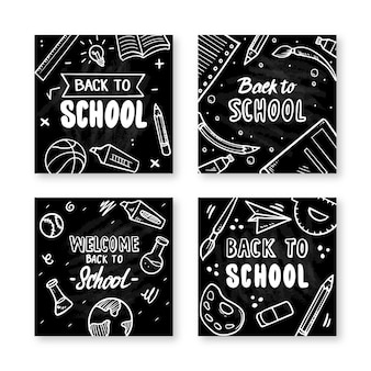 学校に戻る黒板instagramポストセット