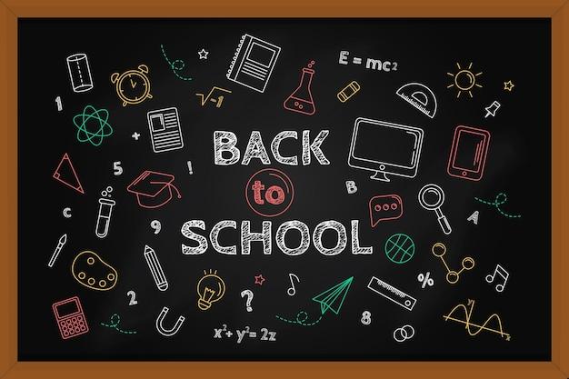 チョークで学校の壁紙に戻る黒板