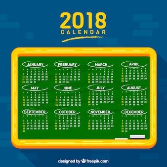 Sfondo della lavagna con il calendario 2018 Vettore gratuito