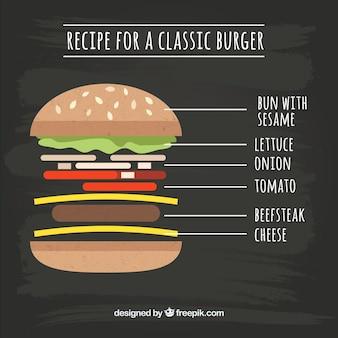 햄버거와 다른 재료와 칠판 배경
