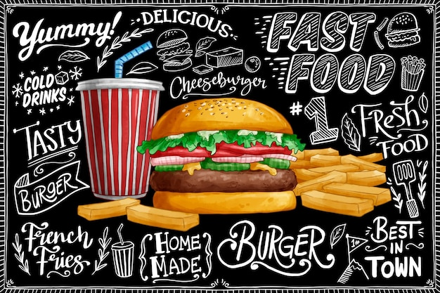 Blackboard background with burger