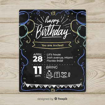 Blackboard balloons first birthday card template