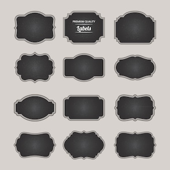 Blackboard blank badges elements collection