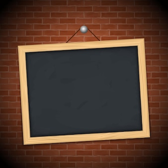 Blackboard on brick wall, illustration