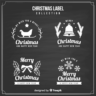 Blackboard christmas label collection