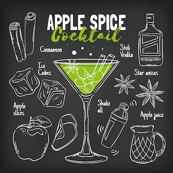 Blackboard cocktail recipe concept