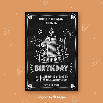 Blackboard effect first birthday card template