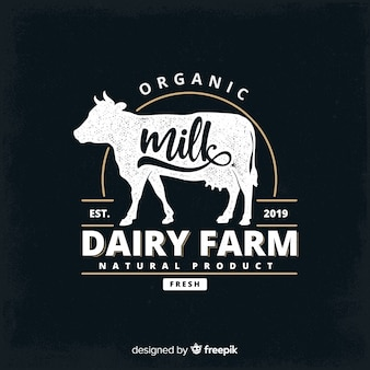 Blackboard effect organic milk logo
