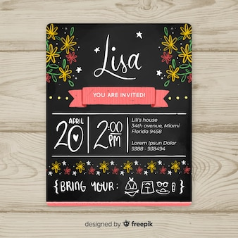 Blackboard flowers first birthday card template