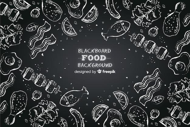 Sfondo di cibo lavagna Vettore gratuito